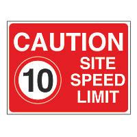 """Caution Site Speed Limit 10"" Sign 450 x 600mm"