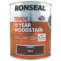 Ronseal Exterior Woodstain Satin Teak 750ml