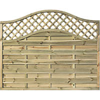 Rowlinson Grosvenor Double-Slatted Lattice Curved Top Fence Panel 6 x 5' Pack of 3