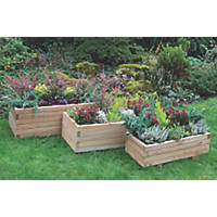 Forest Rectangular Durham Planter Set Natural Wood 900 x 500 x 330mm 3 Pieces