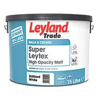 Leyland Trade Super Leytex Matt Paint Brilliant White 15Ltr