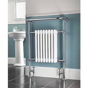 Traditional Victorian Heated Towel Rail Radiator Dual Fuel Chrome 952 x 685-8 SECTION