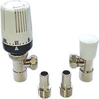 """Myson 2-Way & Matchmate Nickel / White Angled Push-Fit TRV & Lockshield 15mm x ½"""""""
