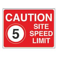 """Caution Site Speed Limit 5"" Sign 450 x 600mm"