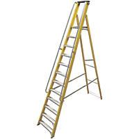 Lyte Fibreglass & Aluminium Platform Ladder with Handrails 12 Treads 3.16m