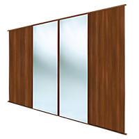 Spacepro Classic 4 Door Sliding Wardrobe Door Kit Walnut / Mirror 2978 x 2260mm