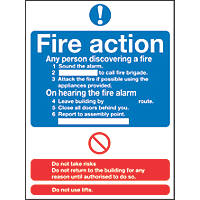 """""""Fire Action"""" Notice Signs 230 x 172mm 50 Pack"""
