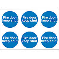"""Fire Door Keep Shut"" Adhesive Labels 100 x 100mm 30 Pack"
