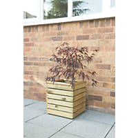 Forest Square Linear Planter Natural Wood 400 x 400 x 440mm