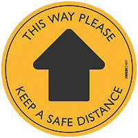 "Medichief ""This Way Please"" Floor Sticker Yellow 300 x 300mm 5 Pack"