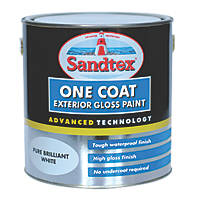 Sandtex One Coat Exterior Gloss Paint Pure Brilliant White 2.5Ltr