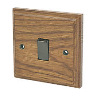 Varilight  10AX 1-Gang 2-Way Light Switch  Medium Oak with Colour-Matched Inserts