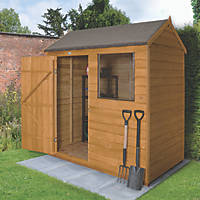 Forest 6' x 4' (Nominal) Apex Overlap Timber Shed with Base & Assembly