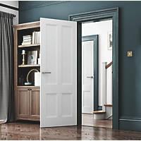 Jeld-Wen Deco Primed White Wooden 4-Panel Internal Door 1981 x 610mm