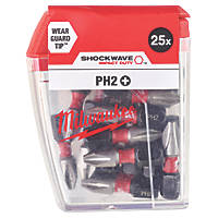 Milwaukee Shockwave 25mm Straight Shank PH2 Screwdriver Bit 25 Pack