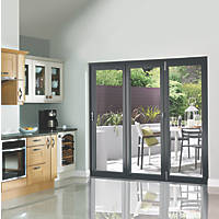 JCI Limited  3-Door Satin Painted Anthracite Grey Wooden Bi-Fold Patio Door Set 2090 x 2390mm