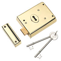 Eurospec Contract Rim Deadlock Polished Brass 105 x 81mm
