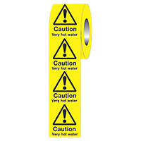 """Caution Very Hot Water"" Adhesive Labels 50 x 50mm"