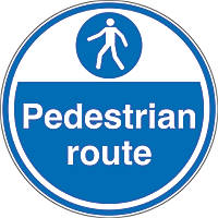 """Pedestrian Route"" Anti-Slip Floor Sign 450 x 450mm"