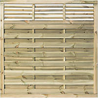 Rowlinson Langham Double-Slatted Open-Bar Top Fence Panel 6 x 6' Pack of 3