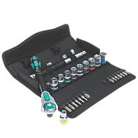 "Wera 05004076001-8100 SC 6  1/2"" Zyklop Speed 5-in-1 Ratchet, Socket & Bit Set 28 Pieces"