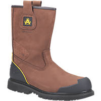 Amblers FS223 Metal Free  Safety Rigger Boots Brown Size 10