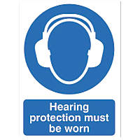 """""""Hearing Protection Must Be Worn"""" Sign 210 x 148mm"""