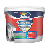 Dulux Weathershield Smooth Masonry Paint Concrete Grey 10Ltr