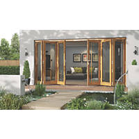 Jeld-Wen Canberra 6-Door Stained Golden Oak Wooden Bi-Fold Patio Door Set 2094 x 4194mm