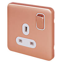 Schneider Electric Lisse Deco 13A 1-Gang DP Switched Socket Copper with LED with White Inserts