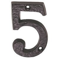 Carlisle Brass Ludlow Door Numeral 5 Antique Black 78mm