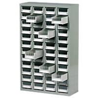 Steel Drawer Cabinet with 48 Bin Trays 586 x 222 x 937mm Grey