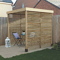 Forest  Pergola with 3 Side Infills Natural Timber 1970 x 1970 x 2045mm