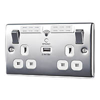 British General Nexus Metal 13A 2-Gang SP Switched Wi-Fi Extender Socket + 2.1A 1-Outlet Type A USB Charger Polished Chrome with White Inserts