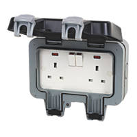 British General  IP66 13A 2-Gang DP Weatherproof Outdoor Switched Socket