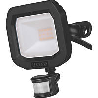 Luceco Slimline LED Floodlight With PIR Sensor Black 10W 1200lm