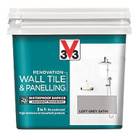 V33 Wall Tile & Panelling Paint Satin Loft Grey 750ml