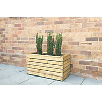 Forest Rectangular Double Linear Planter Natural Wood 800 x 400 x 440mm