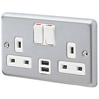 MK Albany Plus 2-Gang DP 13A Switched Socket + 2A 2-Outlet USB Charger Brushed Chrome