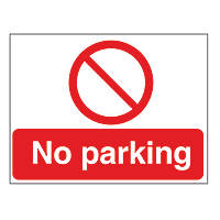 """No Parking"" Sign & Stanchion Frame 450 x 600mm 2 Pieces"