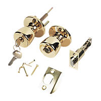 ERA  Ball Mortice Knob Pair Polished Brass 67mm