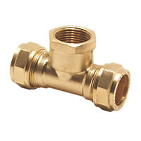 Pegler PX54 Brass Compression Adapting Tee 15mm x 15mm x ½""