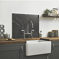 Impact Glass Black Marble Self-Adhesive Splashback 600 x 750 x 6mm
