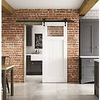 Jeld-Wen  1-Clear Light Primed White Wooden Cottage Internal Sliding Barn Door 2073 x 862mm