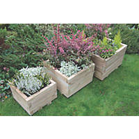 Forest Square Kendal Planter Set Natural Wood 500 x 500 x 330mm 3 Pieces