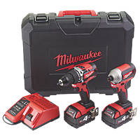 Milwaukee M18CBLPP2A-402C 18V 4.0Ah Li-Ion RedLithium Brushless Cordless Combi Drill & Impact Driver Twin Pack