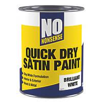 No Nonsense Water-Based Satin Paint Brilliant White 1Ltr