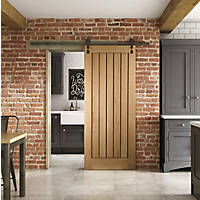 Jeld-Wen  Unfinished Oak Wooden Cottage Internal Sliding Barn Door 2073 x 862mm