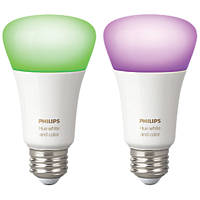 Philips Hue White & Colour Ambience LED GLS ES Smart Bulb Colour-Changing 9.5W 806Lm 2 Pack