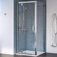 Aqualux Edge 8 Square Shower Enclosure Reversible Left/Right Opening Polished Silver 760 x 760 x 2000mm